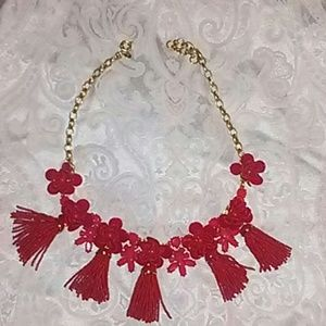 J. Crew red tassle necklace floral pattern